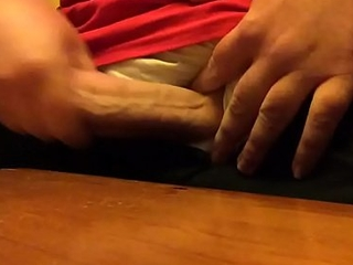 Guy Slaps His Fat Juicy Cock On The Cabinet