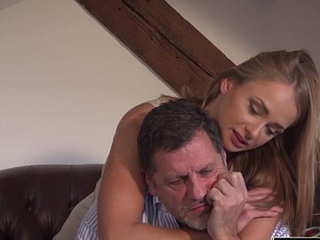 Grandpa fucks magnificent young girlfriend pussy mouthful of cum
