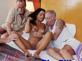 Latina Teen Slut Fucks Three Old Dudes