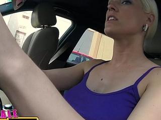 Unmasculine Fake Taxi Big gut blonde cabbie milf fucks young stud on backseat