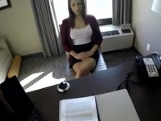 Beautifull Teen bird read for fast sex with her bigwig in office for her permossan