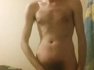 Horny young man masturbating increased by rubing his body increased by cuming