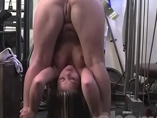 Fit in nature's garb muscle blond stretches in rub-down the gym
