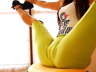 Big a-hole flawless body legal age teenager stretching and bending! cameltoe queen!