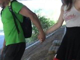 Nice schoolgirl in high-knee socks enjoys screwing in public