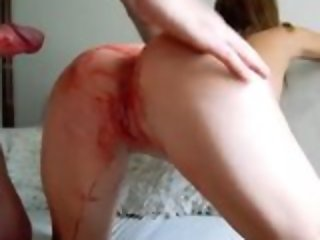 Dispirited teen latitudinarian gets messy factitious rough fuck during the brush bloody period