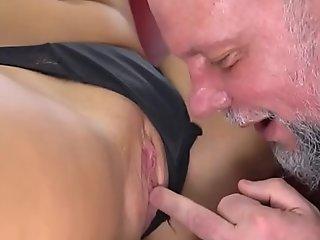 Horny Grandpa Enjoys Fucking a Sexy Teen Pussy