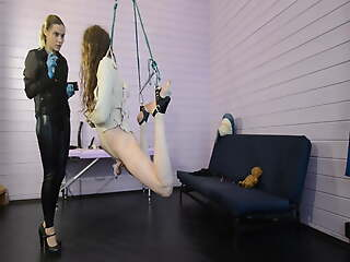 Girl friend Priest tortures her bondaged slave with electro