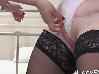 Two UK GILFs endear up and stimulate their wet pussies for fun