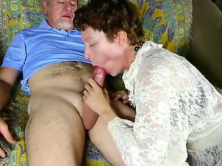 Flannel hungry mature lady sucks dick for a facial cumshot