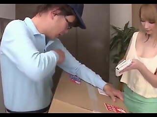 Beautiful japanese girl seducing direction man