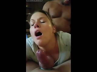Gorgeous wife facing hubby, gets fucked by bbc