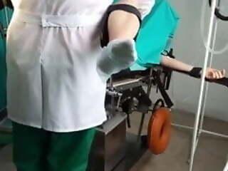 Doll gets orgasm on gyno chair