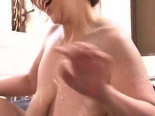 Japanese Granny with deep hanging saggers, amateur, censored