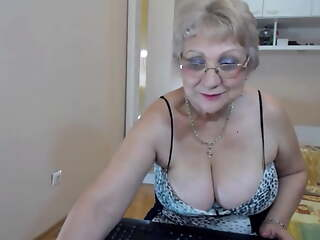 Chubby breasted granny strips and teases on webcam