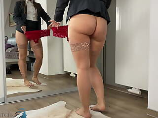 business piece of baggage trying different panties - business-bitch