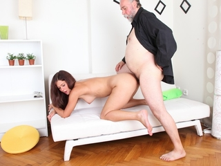 Alyona sits on be imparted to murder lap of her older man looking very titillating and attractive. He is much older than her, save for he wants to drill her young pussy and gets to soon