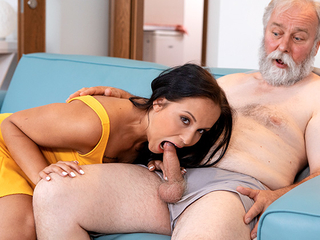 Juicy brunette in sexy intimidated threads pays grey-haired man a visit which brings to lasting sex
