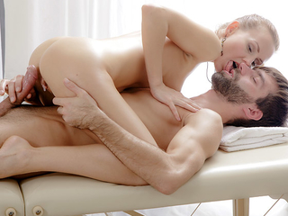 Julie was horny plus sought-after the hot masseuse to be crazy her. So she lifted one leg so that he could see her pussy plus get horny as well.