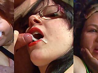 Eye cum, oral cum, boob cum and facial compilation