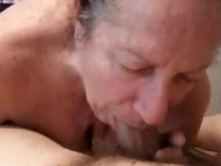 My friend's granny gave me a blowjob and put aside me fuck her