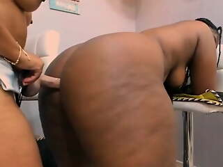 beamy ass black and latina girls fuck each in rotation in the ass