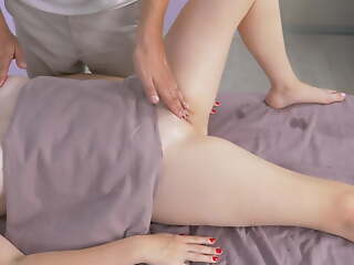 MASSAGEROOMS. Busty chick ends up pulling her pussy. Masseur