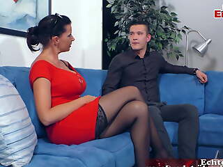 German female boss down big tits seduced wide of younger person
