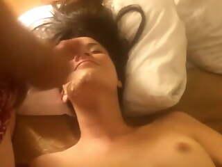 Petite brunette having an orgy