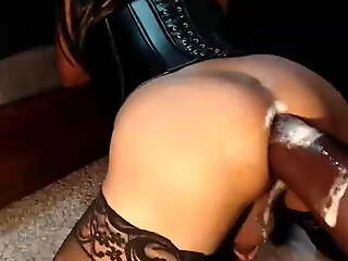 fucked hard unconnected with fat dildo fuck gear