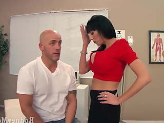 Big tits milf doctor examines a guy patient