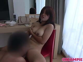 Thai chick with obese natural titties gets fucked by Japanese guy