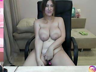 Alexa puts big boobs and areolas on along to table dildos them