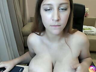 White unshaded displays her big sagging tits and areolas on table