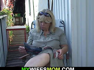 Girlfriend's mother gets doggy-fucked outdoors