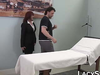 GILF doctor Lacey Starr in doggystyle triplet sex with if it happens