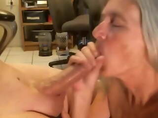 White haired wife gives blowjob and swallows cum