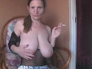 Saggy Boobed GILF Fishnet Crotchless Company Stocking