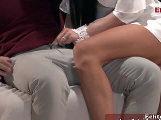 German skinny brunette MILF with perfect bowels fucks loudly