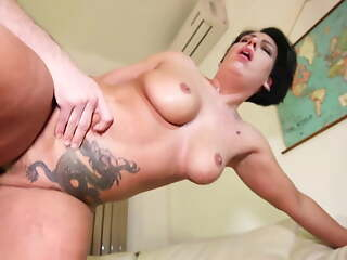Mother squirts on big cock