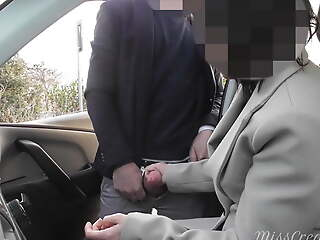 Dogging my wife in public car park and she jerks retire from a voyeur