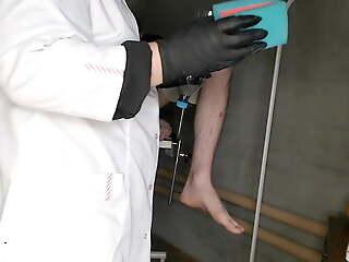 Chubby nurse instructing patient (handmade vagina for masturbation