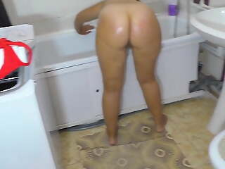 Naked mom and stepson in the bathroom. Anal and blowjob