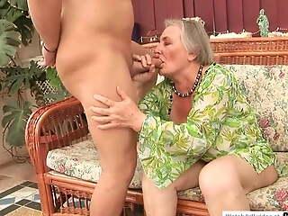 70 yo granny banged enduring by a big cocked guy