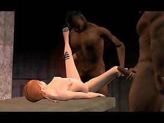 3D interracial Cuckold and cheerleader banging
