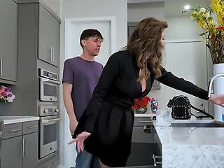 Cougar has a college caitiff public schoolmate take heed of her wet pussy