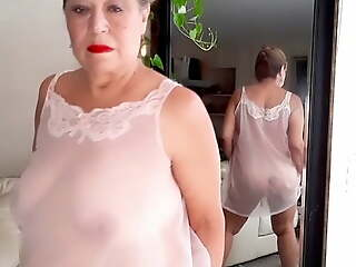 Matured bbw woman with hairy pussy wearing  sheer nightgown