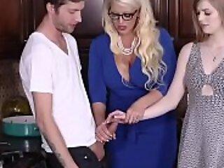 Teen daughter joins milf bonking their akin boyfriend