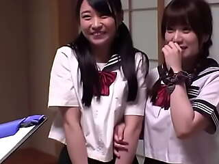 2 Ready-made Japanese Teens In Unalterable Guestimated Gangbang