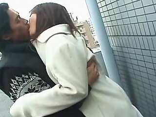 Hot Japanese teen exhibs and gets fucked open-air